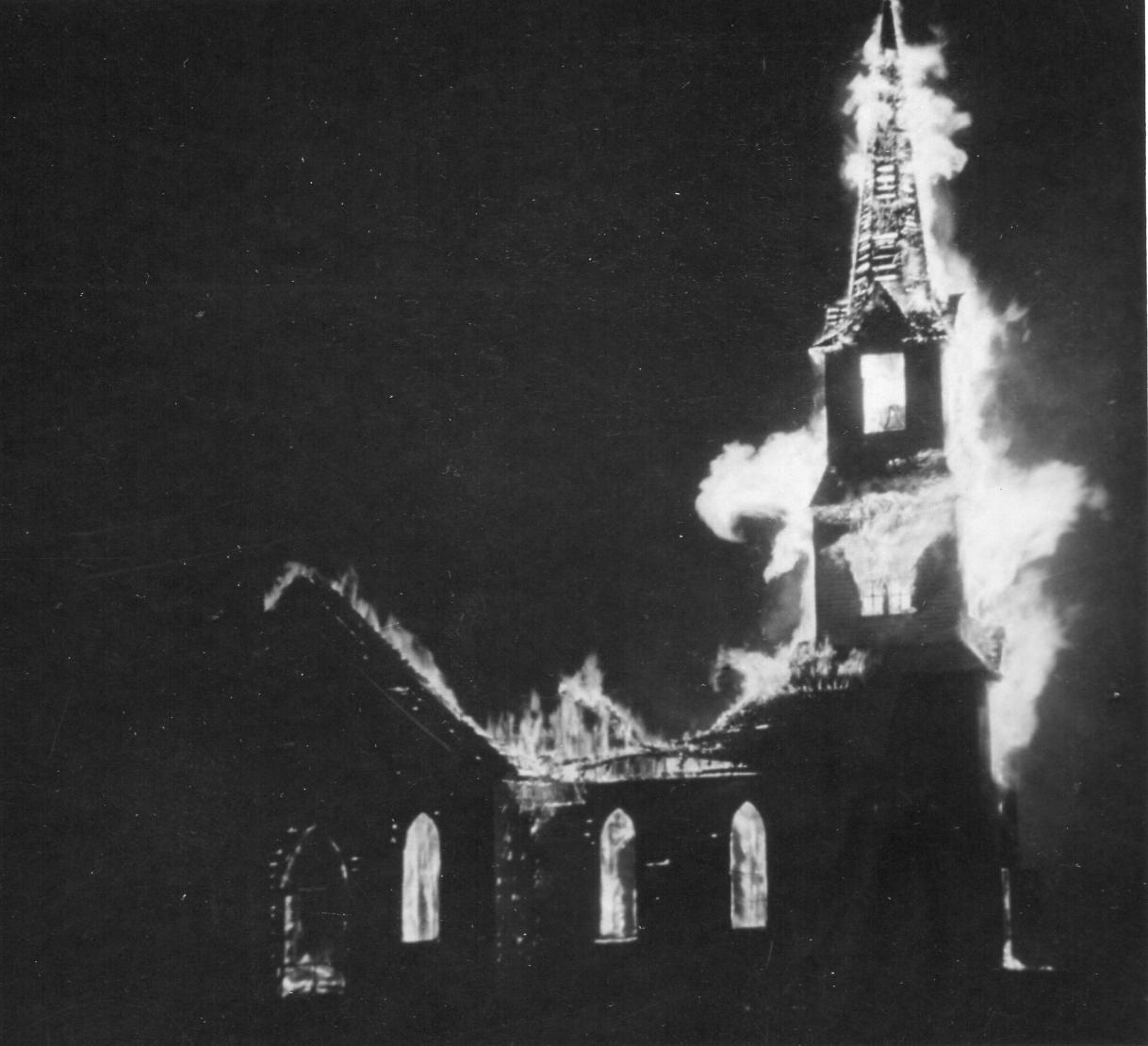 1st West Denmark church burning Sept. 9, 1937