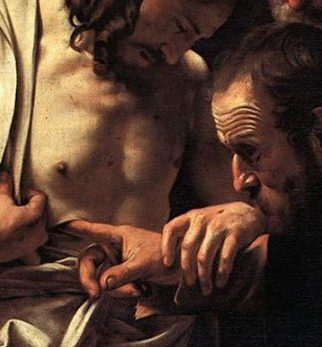 Michelangelo Merisi (or Amerighi) da Caravaggio's painting of Jesus showing and letting Thomas touch