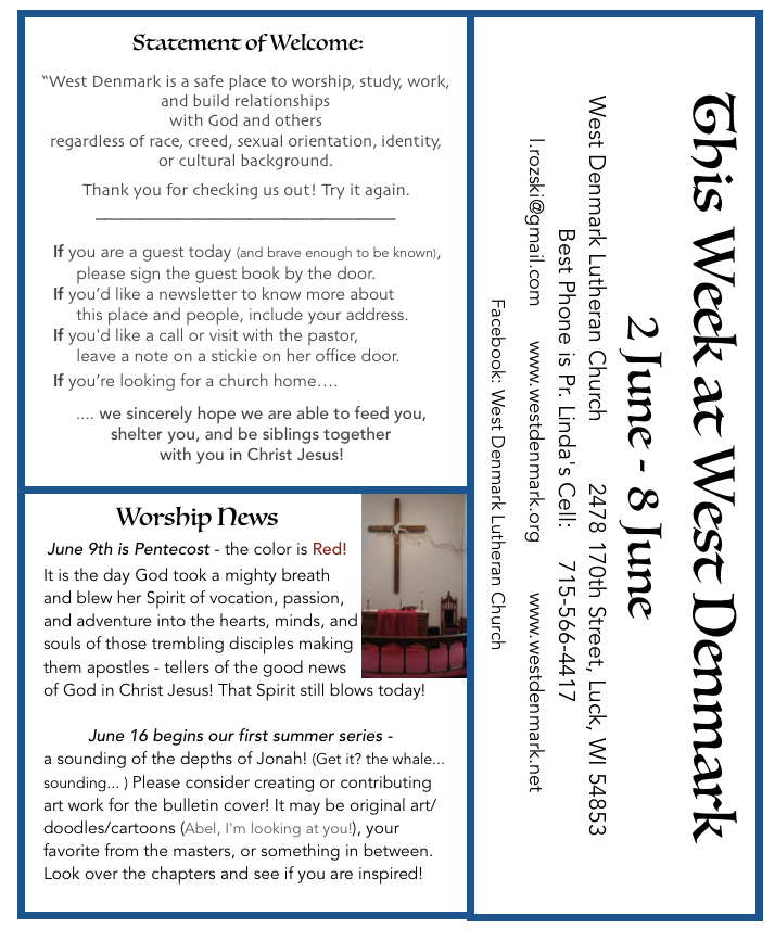 New Posts – West Denmark Lutheran Church